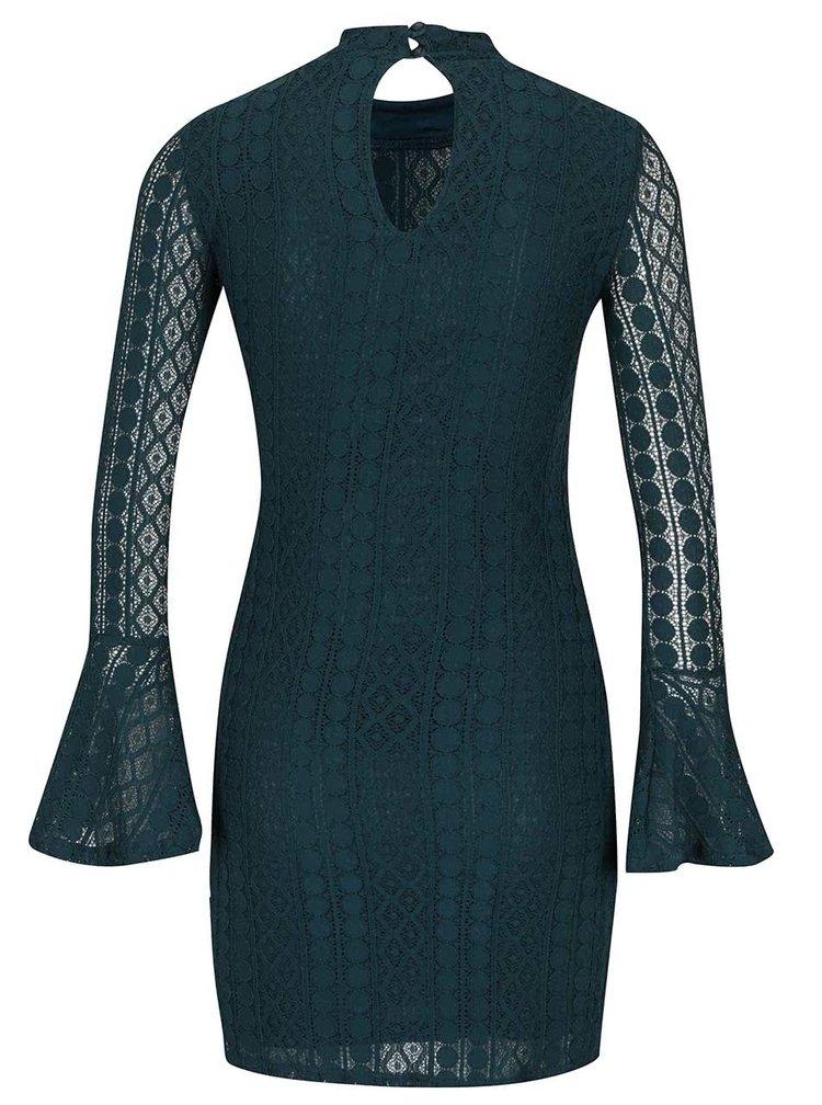 Petrolejové krajkové mini šaty se zvonovými rukávy Miss Selfridge