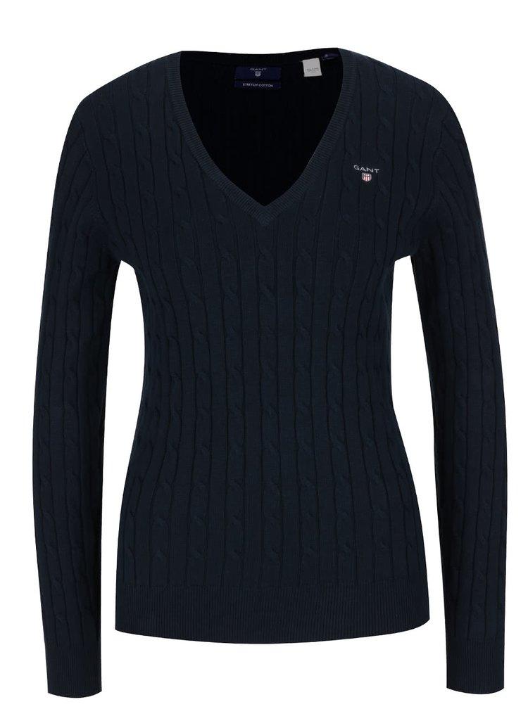 Modrý dámský svetr s copánkovým vzorem GANT