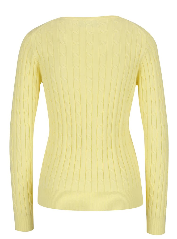 Žlutý dámský svetr GANT Cable