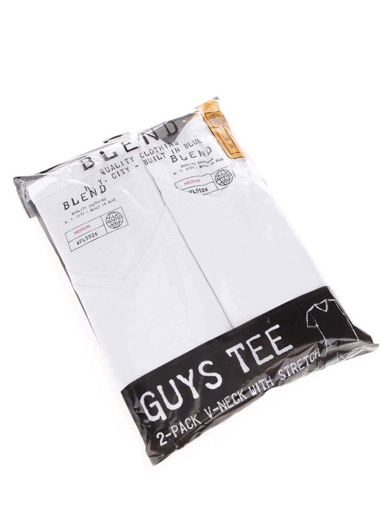 Sada dvou trik pod košili v bílé barvě s véčkovým výstřihem Blend