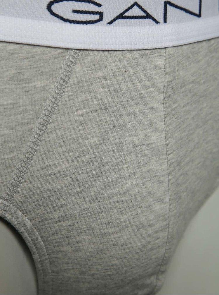 Sada tří slipů v bílé, šedé a černé barvě GANT