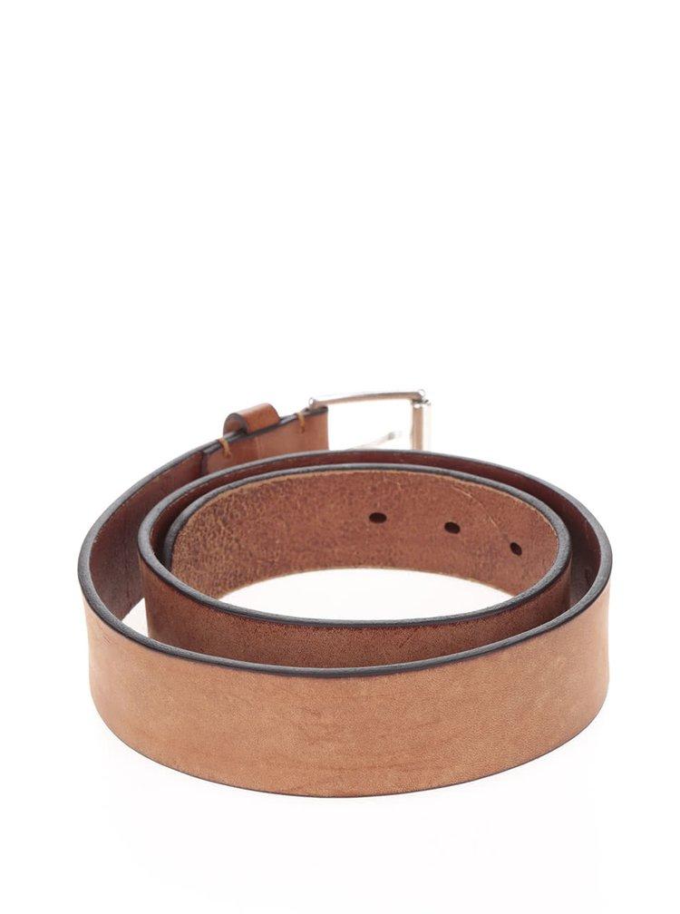 Hnědý pánský kožený pásek GANT Classic