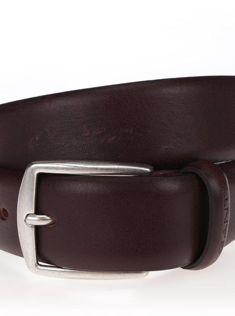 Tmavě hnědý pánský kožený pásek GANT Classic