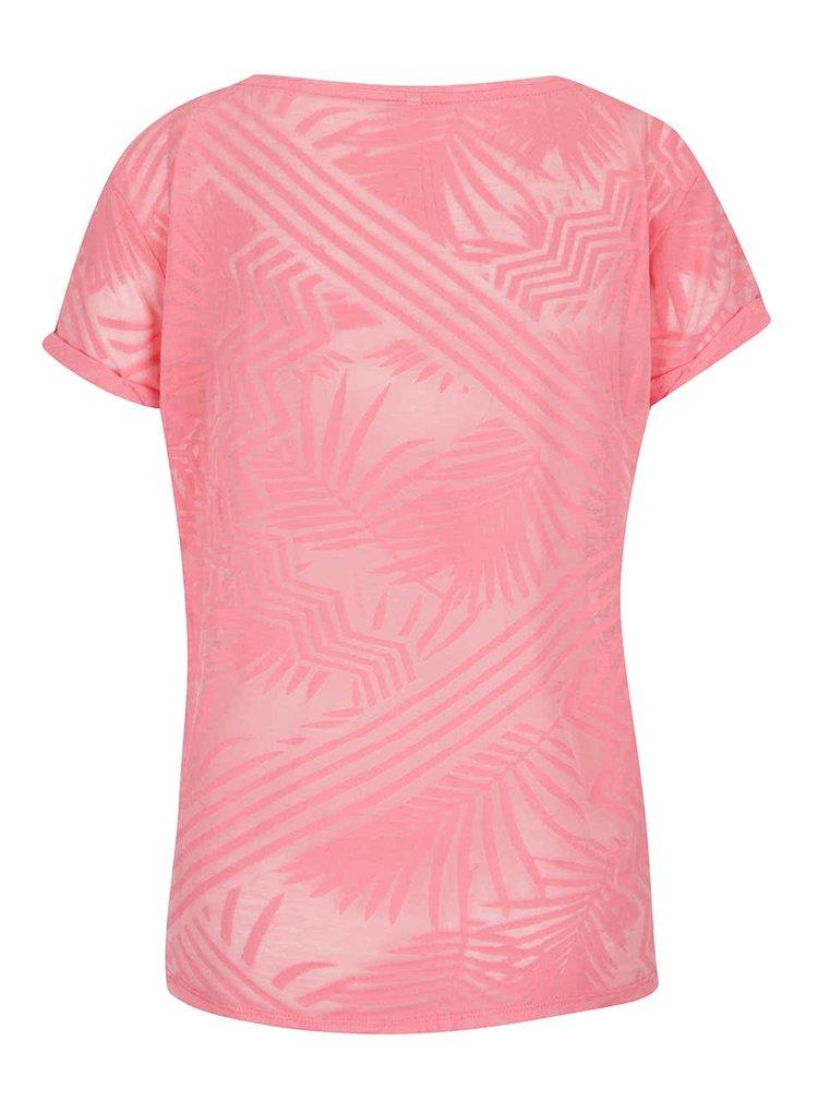 Růžové vzorované tričko ONLY Dare