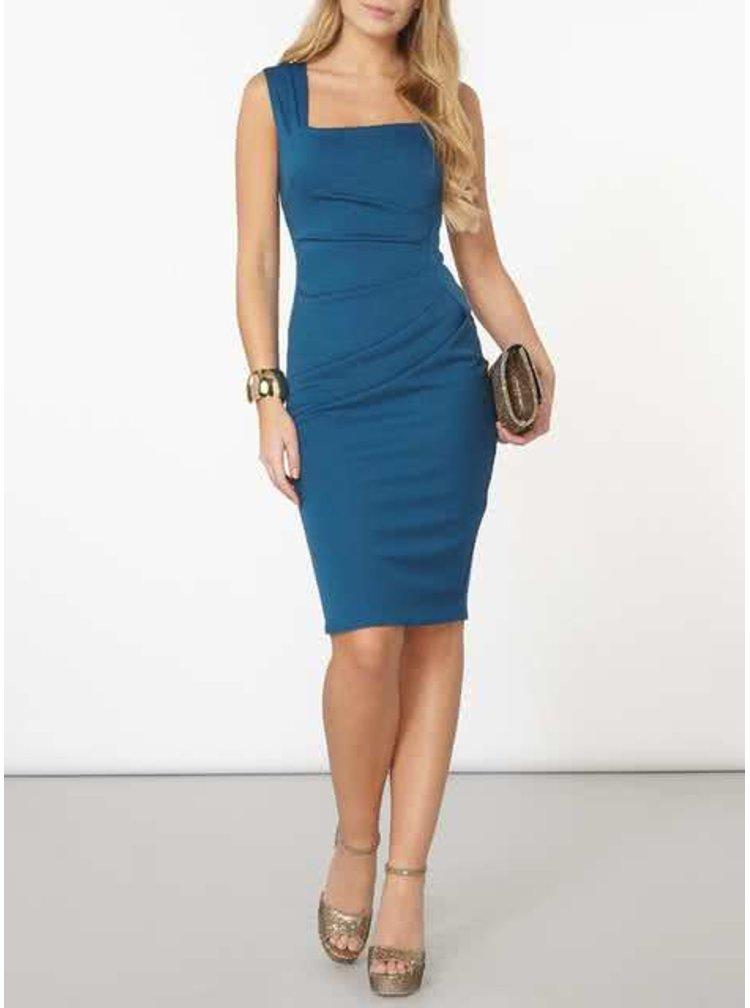Modré šaty s řasením na boku Scarlett B