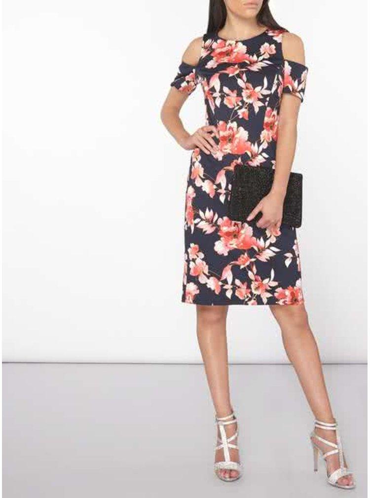 Tmavě modré květované šaty s průstřihy na ramenou Dorothy Perkins Petite