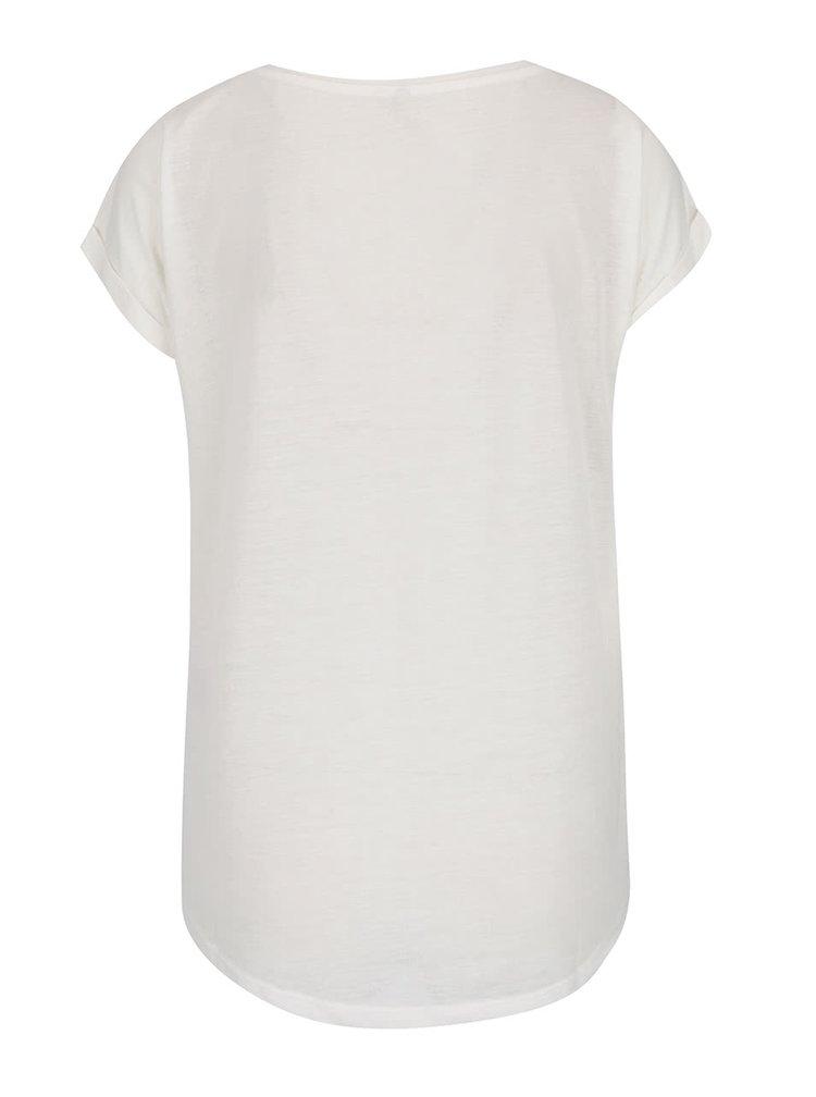 Krémové tričko s příměsí lnu ONLY Rita