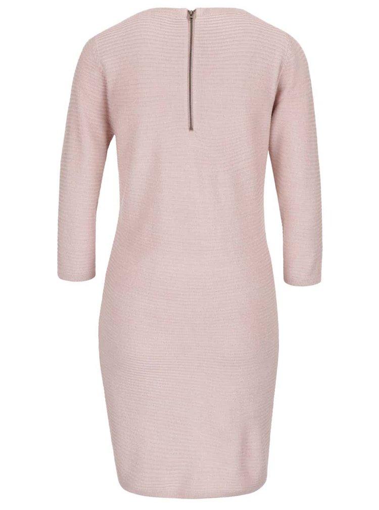 Starorůžové svetrové šaty s 3/4 rukávy Jacqueline de Yong Mathison