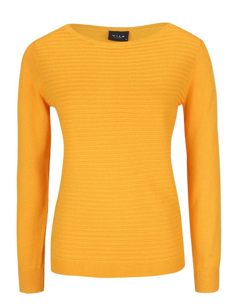 Pulover tricotat galben VILA Sesse din bumbac