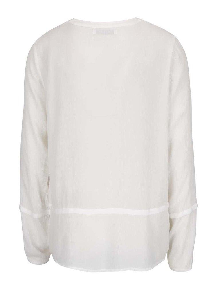 Bluză crem VILA Sazzina cu cusături în relief