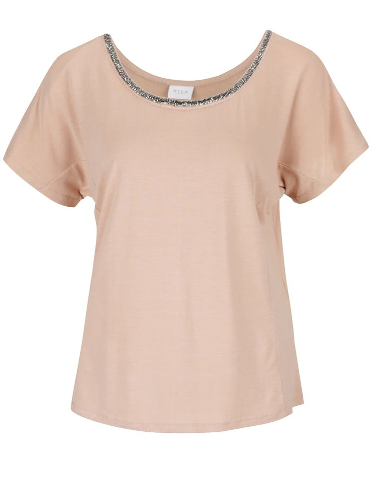 Béžové tričko s korálkovou aplikací VILA Dango
