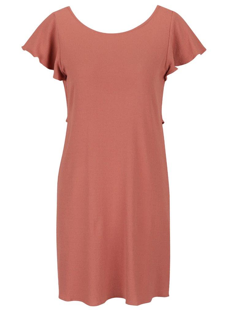Starorůžové šaty s volánem na zádech VILA Alda