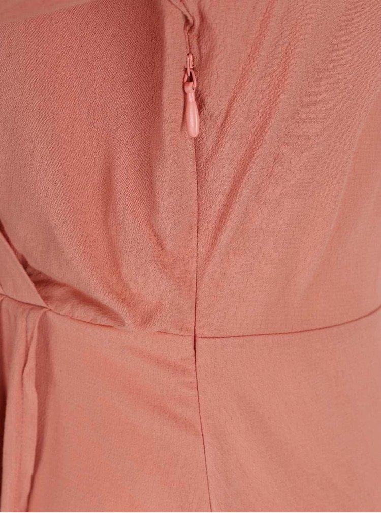 Starorůžové šaty s překládaným výstřihem VILA Peach