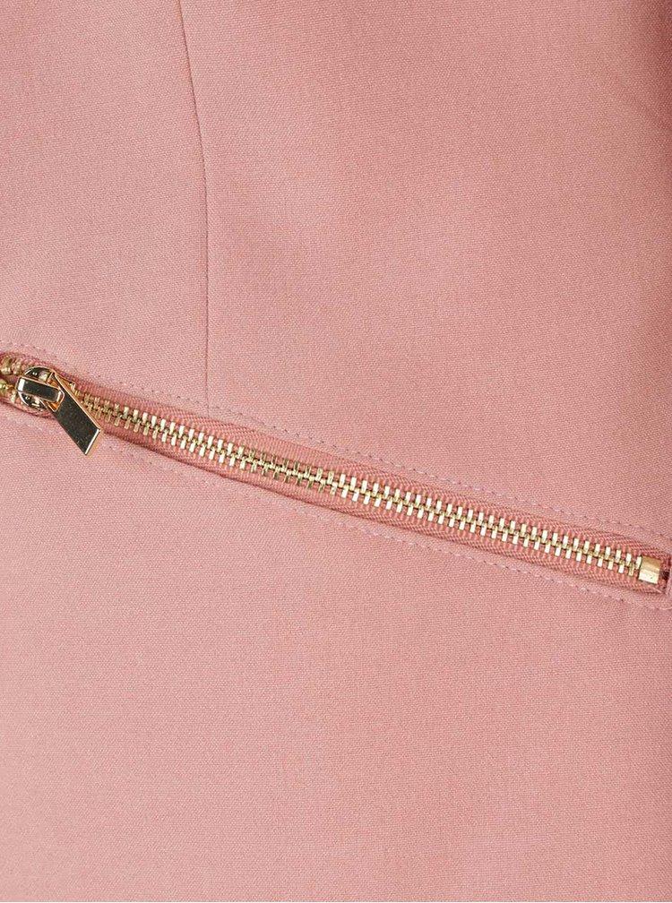 Starorůžový blejzr se zipy ve zlaté barvě VILA Zip