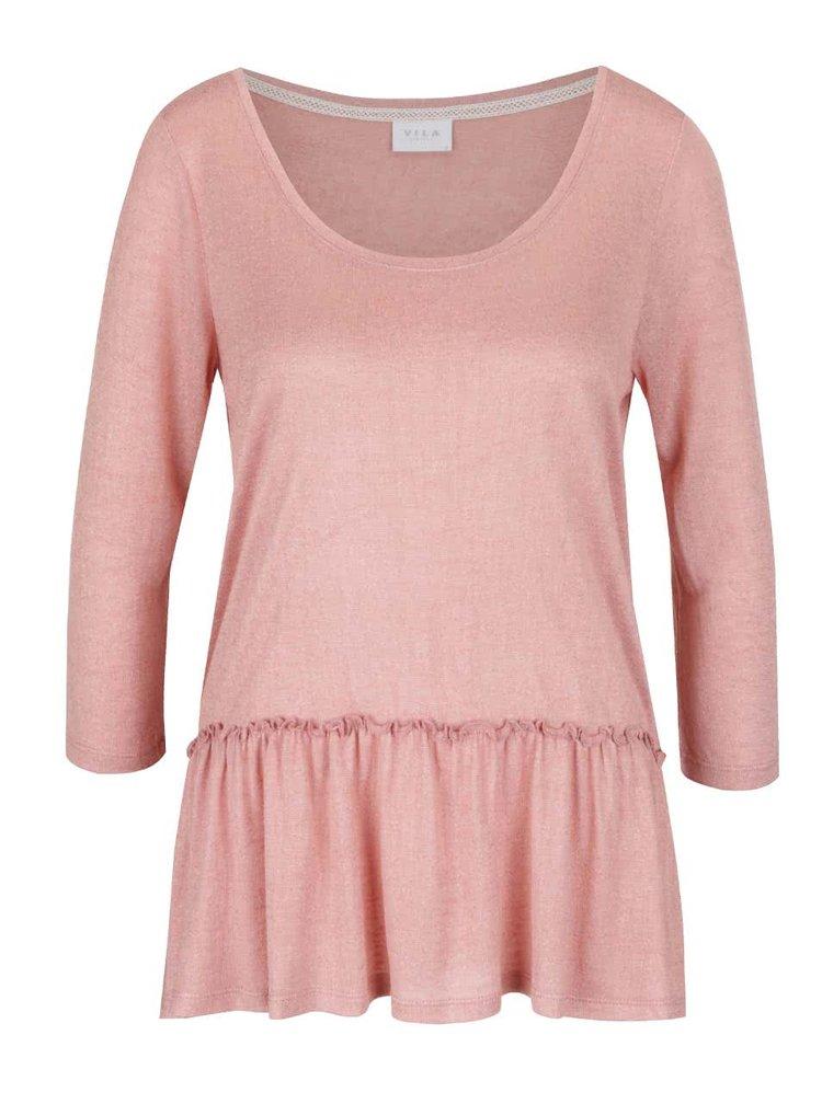 Bluză roz pal  VILA Linea cu volane