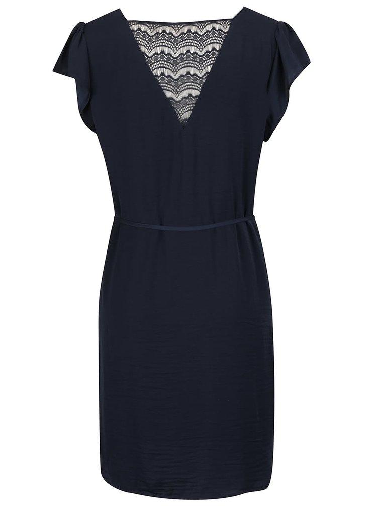Tmavě modré šaty s krajkovou vsadkou na zádech VILA Melli
