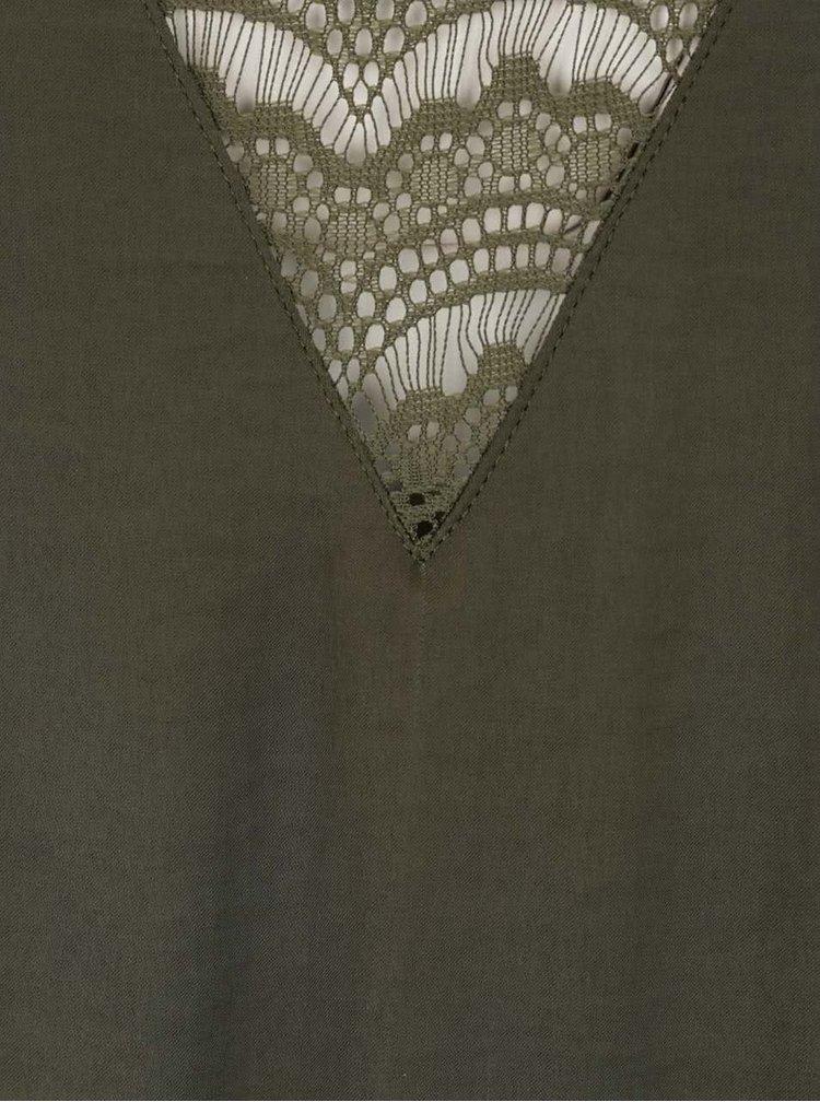 Khaki šaty s krajkovou vsadkou na zádech VILA Melli