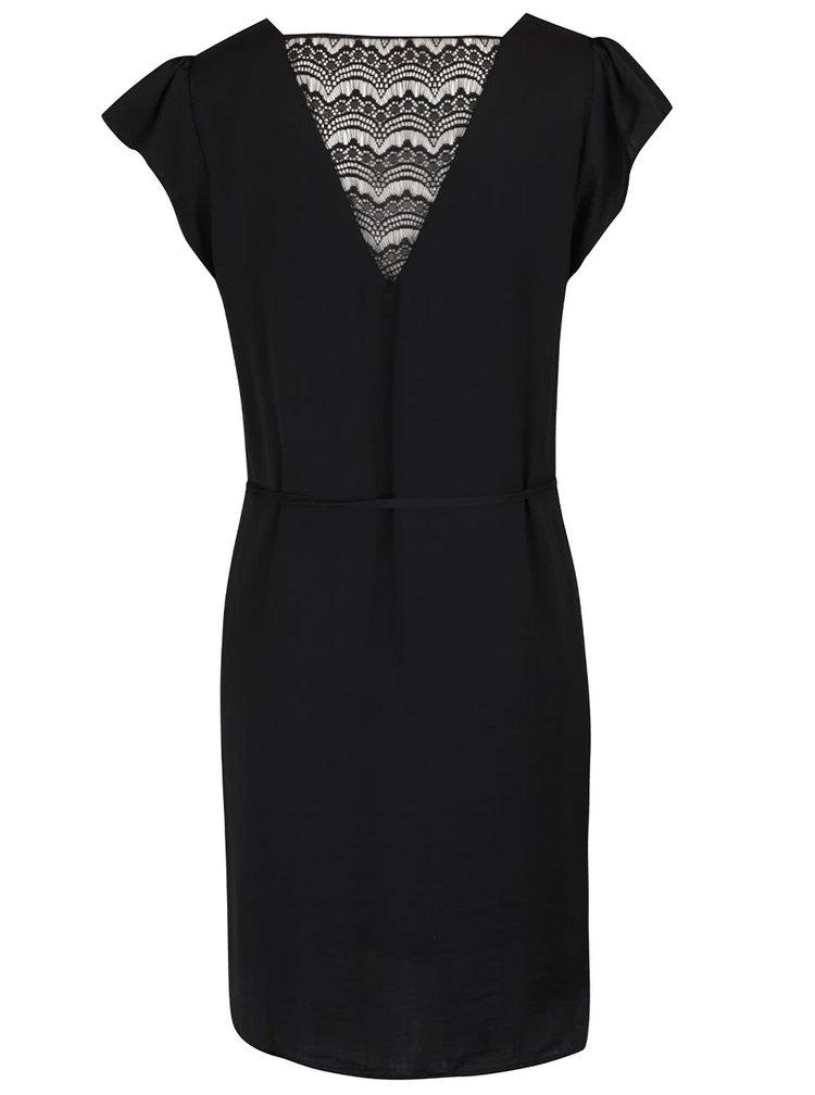 Rochie neagră VILA Melli cu dantelă