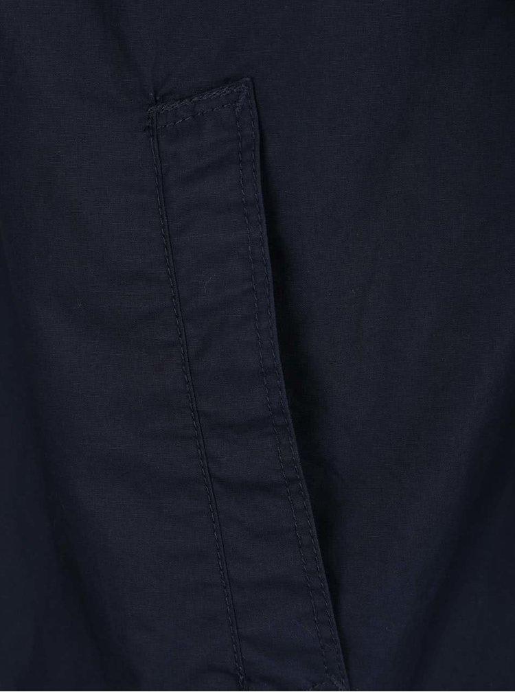 Jacheta albastru inchis Selected Homme Coach din bumbac cu guler ascutit