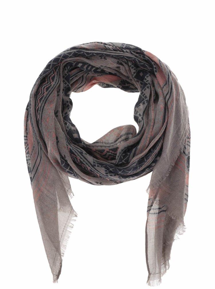 Modro-šedý vzorovaný šátek Pieces Lavina