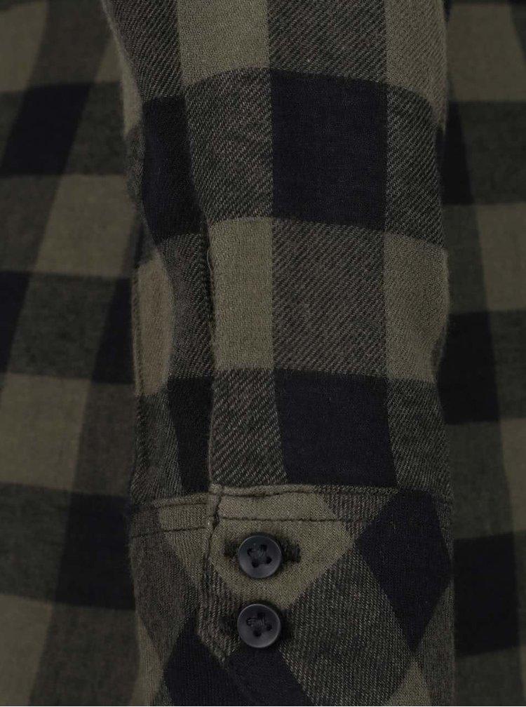 Černo-zelená dlouhá flanelová košile  TALLY WEiJL