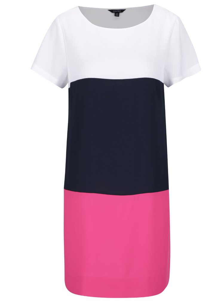 Bílo-růžovo-modré šaty Nautica