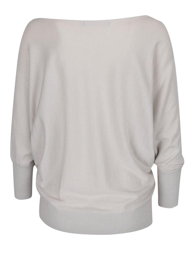 Světle šedý svetr s odhalenými rameny YAYA
