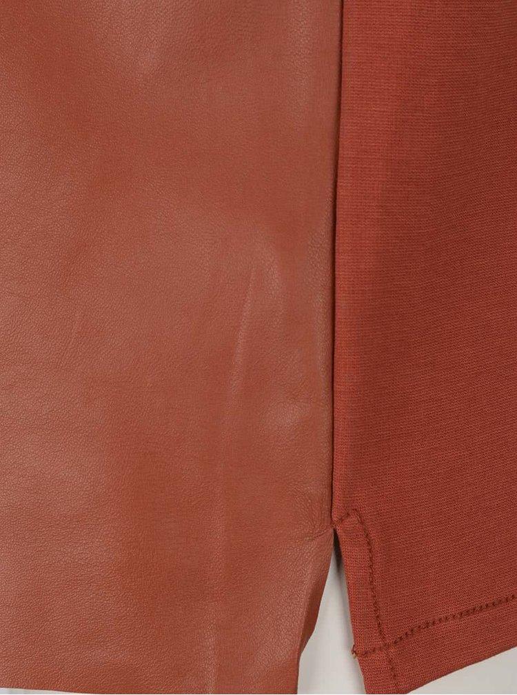Čevenohnědý kožený top YAYA