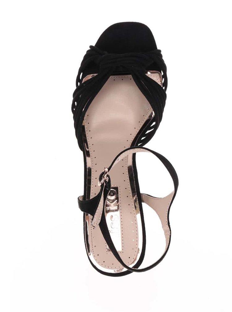 Sandale negre Miss KG cu barete multiple