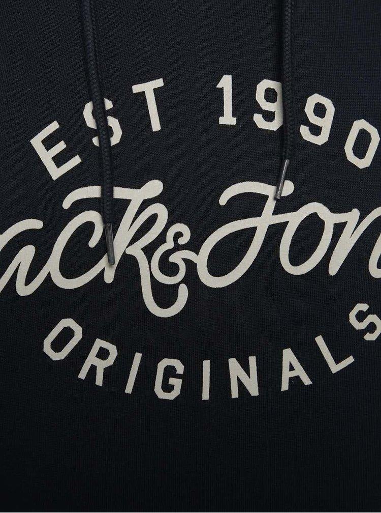 Hanorac albastru închis Jack & Jones Finish cu print