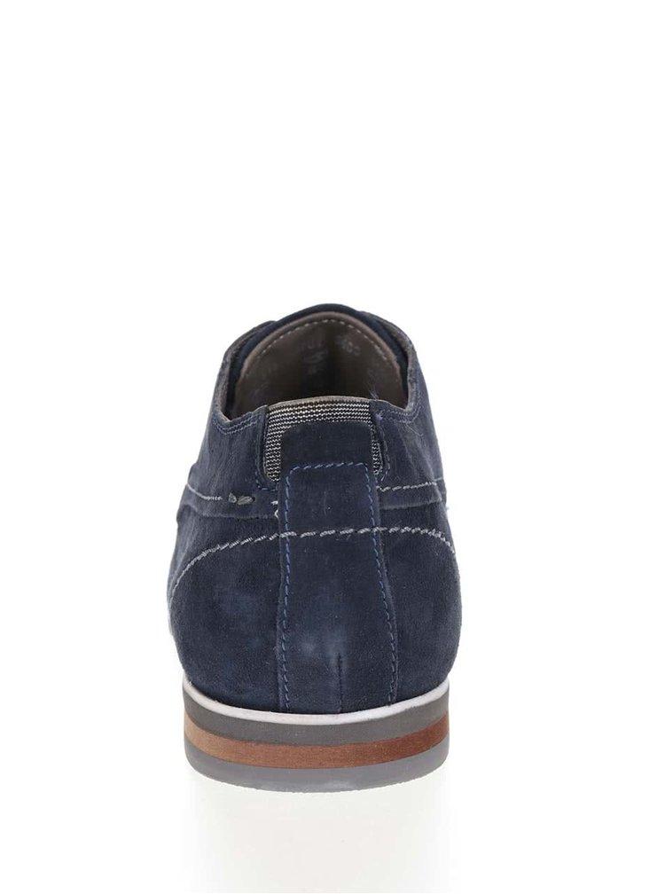 Pantofi bleumarin bugatti Bertoldo din piele întoarsă cu logo