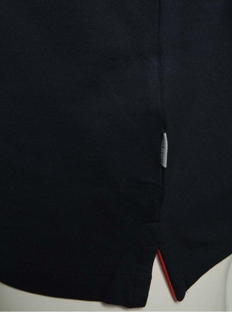 Tricou polo bleumarin cu slituri laterale Jack & Jones Stone
