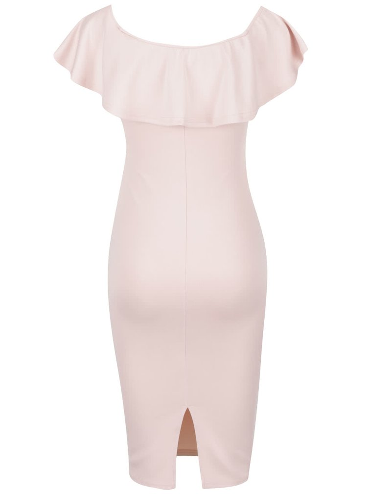 Růžové pouzdrové šaty s lodičkovým výstřihem a volánem AX Paris