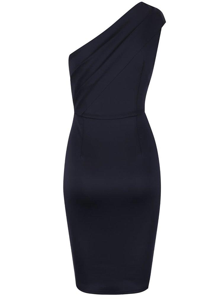 Tmavě modré pouzdrové šaty na jedno rameno AX Paris