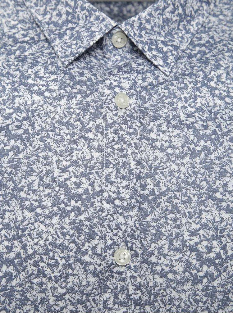 Krémovo-šedá vzorovaná košile Jack & Jones Martin