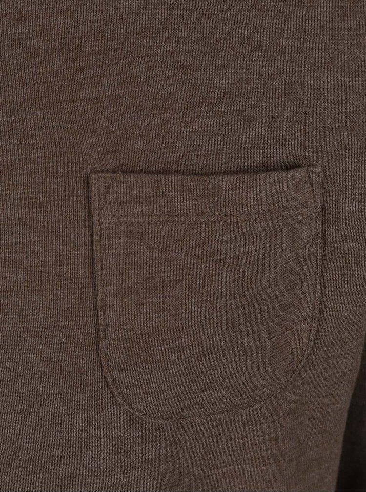 Bluza maro melanj Burton Menswear London cu buzunar la piept
