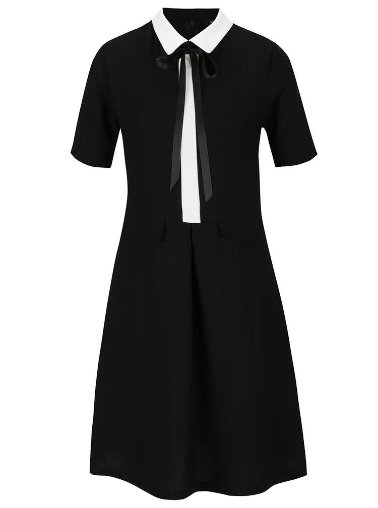 Krémovo-černé šaty s límečkem a vázankou Alchymi Audrey