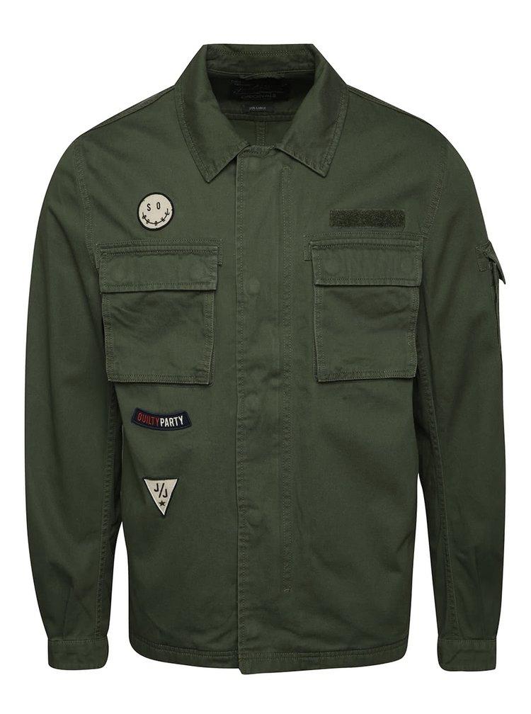 Jachetă kaki Jack & Jones Paint din bumbac