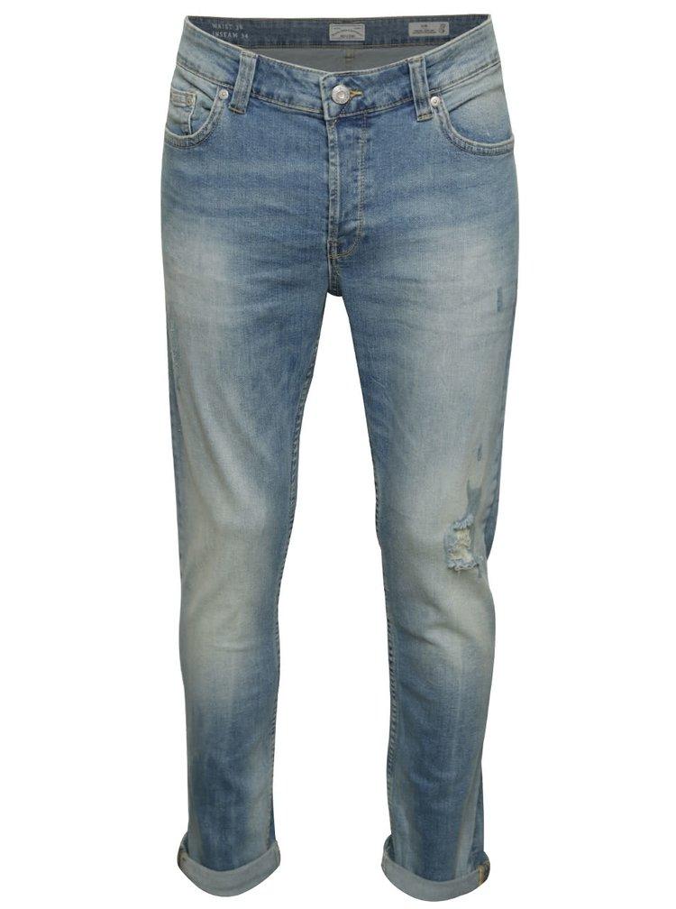 Světle modré slim džíny s potrhaným efektem ONLY & SONS Loom