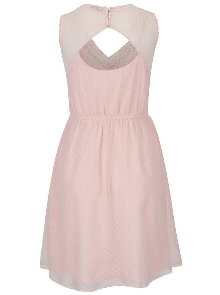Světle růžové šaty s průstřihem na zádech VERO MODA Bianca