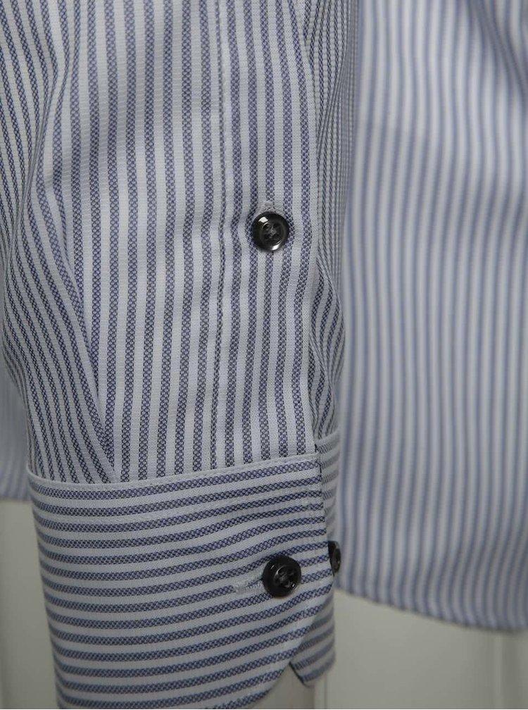 Camasa alb & albastru Seven Seas Palermo slim fit din bumbac cu model in dungi