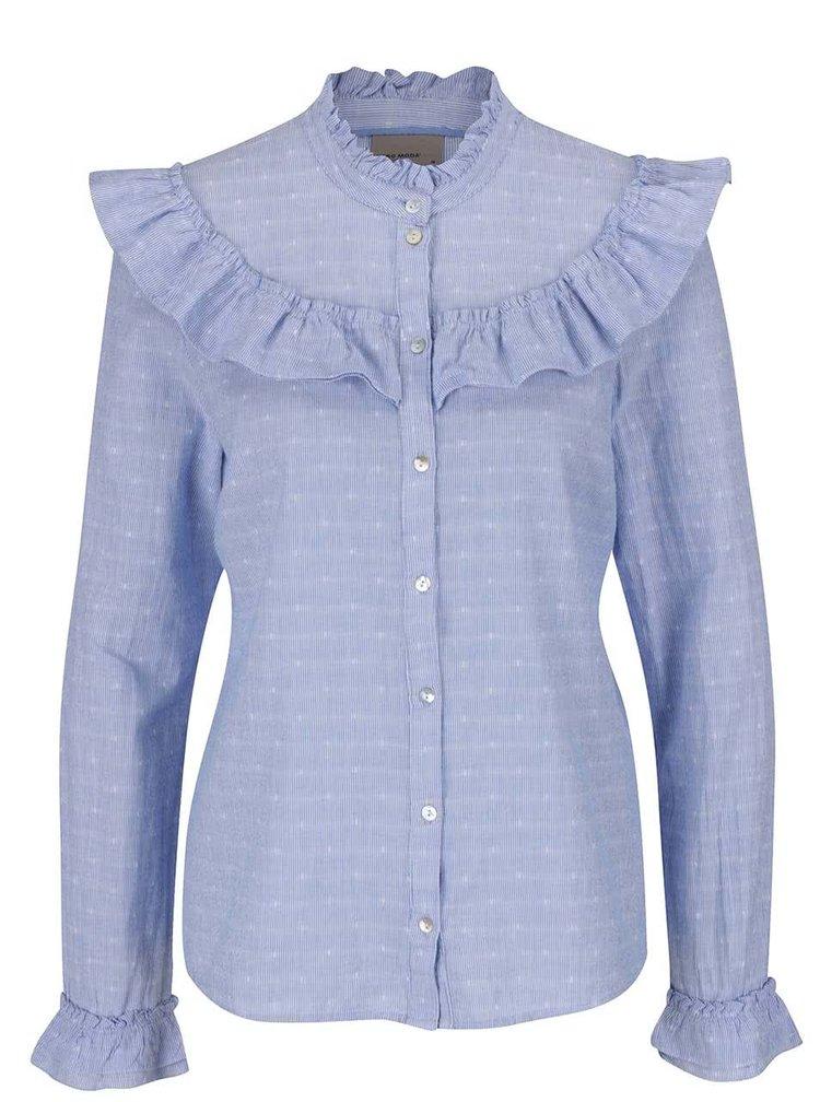 Světle modrá pruhovaná košile s volánky VERO MODA Daimi