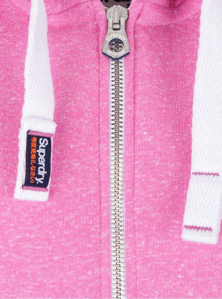 Růžová žíhaná dámská mikina na zip Superdry
