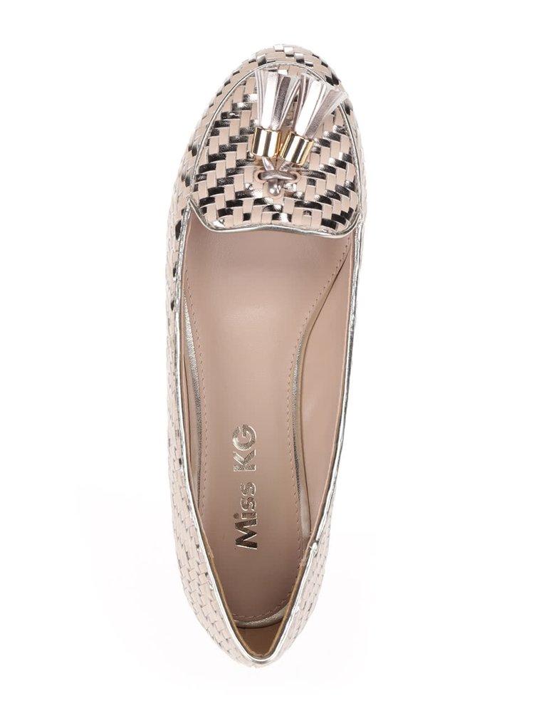 Mokasíny v béžovo-stříbrné barvě Miss KG