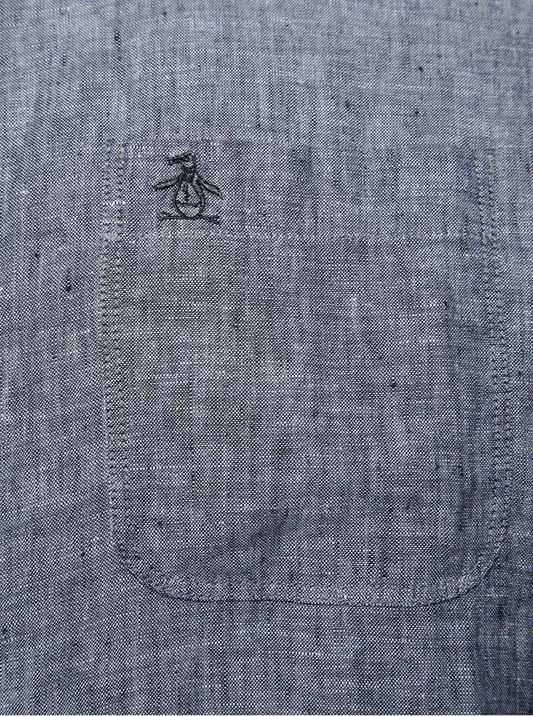 Cămașă gri melanj Original Penguin Nep din in cu buzunar