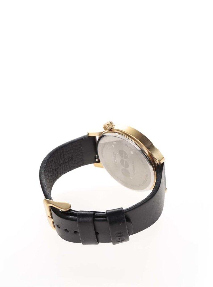 Ceas unisex auriu cu curea neagră din piele Komono Winston Regal