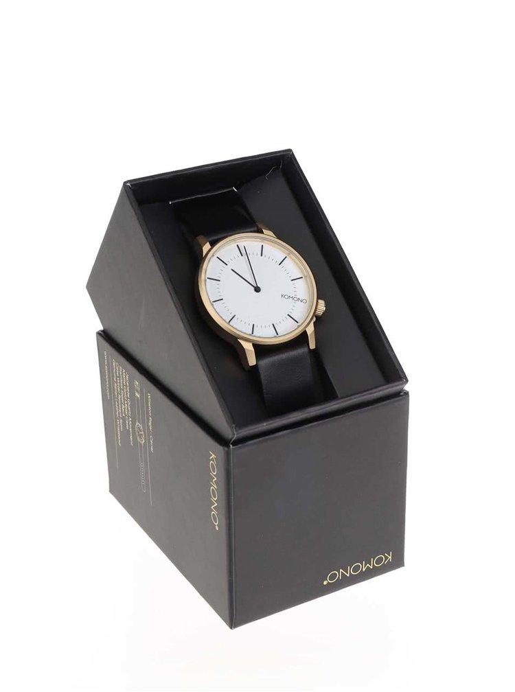 Unisex hodinky ve zlaté barvě s koženým páskem Komono Winston Regal