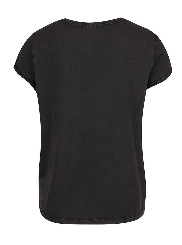 Tmavě šedé dámské tričko s motivem rtů s kamínky QS  by s. Oliver