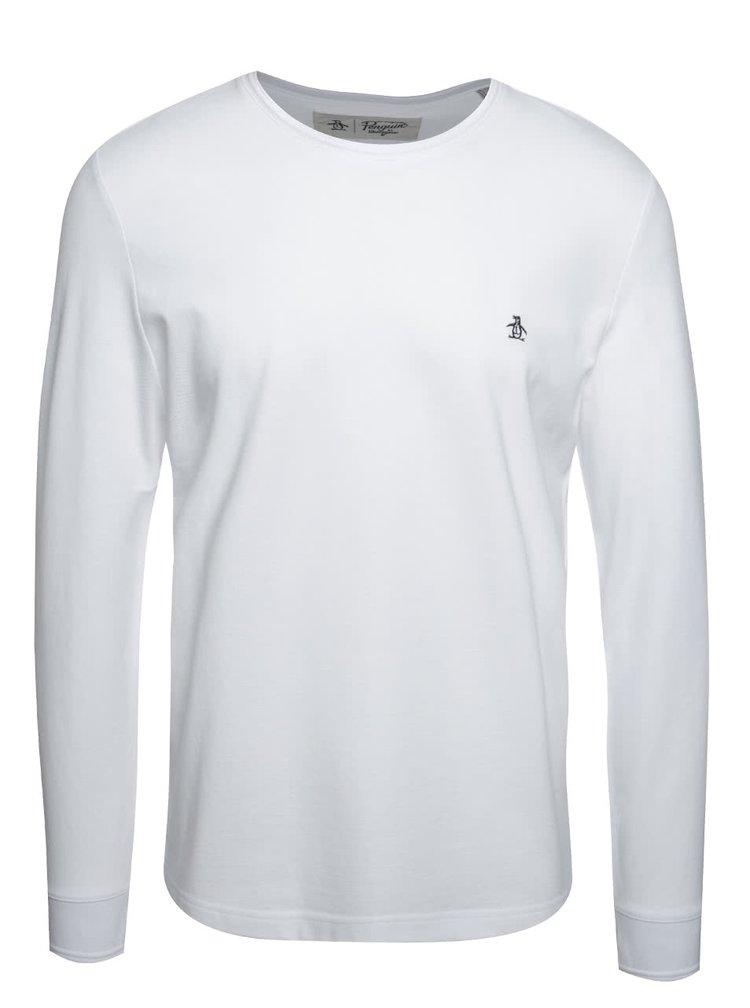 Bílé tričko s dlouhým rukávem Original Penguin Winston