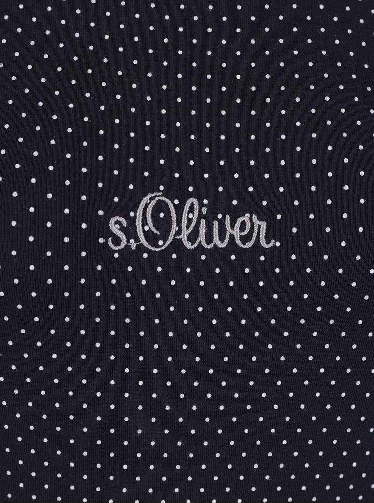Tmavě modré dámské puntíkované tričko s.Oliver